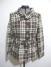 Womens Brown & White Plaid Pea Coat JACKET COAT Sz 10 w Belt Wool LAST KISS