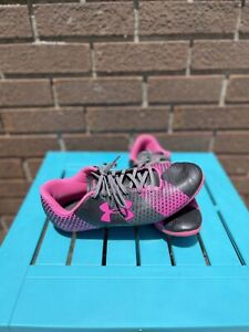 Girl's Size 5Y Under Armour Force Neon Pink Soccer Cleats Shoes Kids Youth
