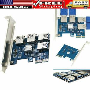 4-port PCI-E to USB Adapter PCI-E X1 to USB 3.0 Riser Card Extender Board Mining