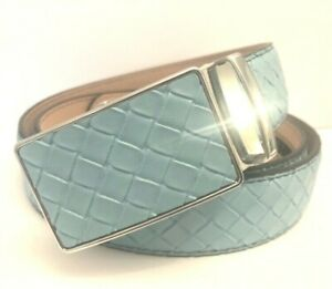 MENS DESIGNER BELTS BLUE QUILTED WOVEN AUTOMATIC 35MM REAL LEATHER BELT FOR MEN