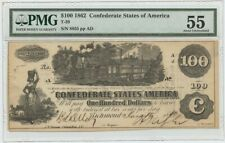1862 $100 Confederate Note T-39 PMG 55 AU