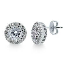 BERRICLE Sterling Silver Round CZ Halo Anniversary Wedding Stud Earrings