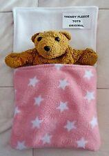 DOLL teddy SLEEPING BAG pram cot liner FLEECE up to 14in doll PINK medium