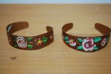 Very pretty pair of hand painted Copper Bracelets 16cm - very decorative