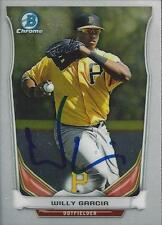 Willy Garcia Pittsburgh Pirates 2014 Bowman Chrome Signed Card