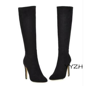 Women's Fashion Pointy Toe Faux Suede Stiletto Mid-Calf Knee High Clubwear Boots