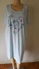 NWT Croft & Barrow Womens Nightshirt Gown S/S 3X Aqua Floral Knit Cotton Blend