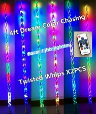 JHB Pair 4FT 300LEDs Remote Ctrl Chasing Spiral Wrapped Twisted LED Whips Lights