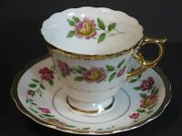 Northern Imports Cup & Saucer Pink Cabbage Roses Gold Fancy Handle, Japan, Mint!
