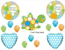 WELCOME TWINS FROGS BABY SHOWER BALLOONS Decorations Supplies Turtle Boy Dots