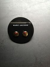Marc By Marc Jacobs Gold & Red Logo Button Disc Stud Earrings New