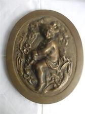 "Vintage Large Antique Solid Brass Oval Plaque Victorian Girl Fiqure 12"" x 9.5"""