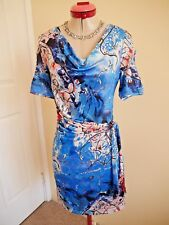 VIVID Blue Black Pink White DRESS Size 8  Stretch Flattering Navy Coral Red