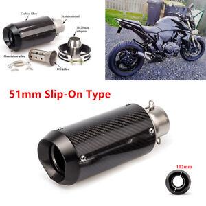 Motorcycle Slip-On Carbon Fiber Stainless Steel Exhaust Muffler w/ DB Killer Kit