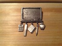 Pewter JJ Brooch Math Science School Teacher with Dangling Charms Pin Gift
