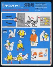 OLYMPIC Airlines SAFETY CARD ATR 42 72 airline brochure memorabilia ee e611