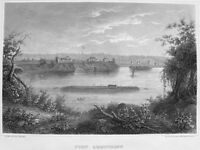 FORT ARMSTRONG ROCK ISLAND ARSENAL MISSISSIPPI RIVER ~ 1855 Art Print Engraving