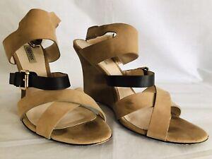OROTON Size EU 38.5 'JOURNEY' Wedge Sand Suede Black Leather Nubuck Sandals
