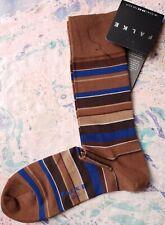 Falke Mens Cotton Socks Mixed Stripe Chestnut Brown UK 5.5-8 EU 39-42 RRP £11