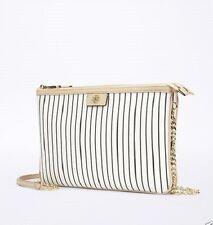 NWT ANN TAYLOR stripe signature crossbody bag purse winter white 364162