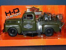 Maisto 1948 Ford F-1 Pickup Truck Harley Davidson Flat Army Green With 1942 Harl