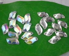 Applique S shape glass crystal rhinestone Faceted Jewels sew on silver bottom