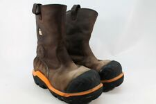"Dunlop 11"" CT Composite Plate Pull On Leather Men's Brown Work Boots 10.5M"