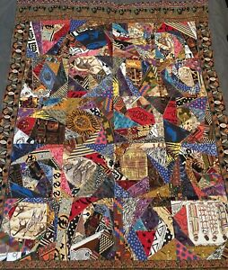 Handmade 2 Sided Crazy African Africa  Quilt Bed Spread Blanket  Made In USA