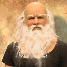 Perucas De Natal Papai Noel Com Barba Grande Branco cabelo sintético longo cacheado