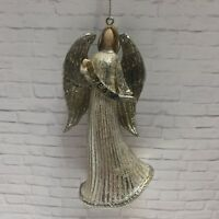Angel Of Peace Christmas Ornament  Silver Gold Glitter Shines 4.5 X 2