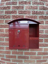 Metal Post Box With Two Keys 36cm Tall 36cm Wide & 10cm Deep. Spring Loaded Flap