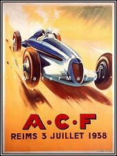 ACF Reims France French Car Race 1938 Vintage Poster Print Retro Racing Art