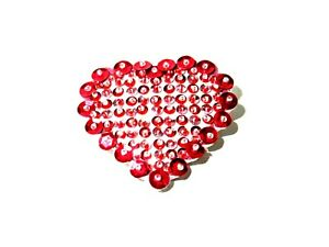 Hand Made Felt Bead Sequin Valentine Heart Pin Brooch Sweetheart
