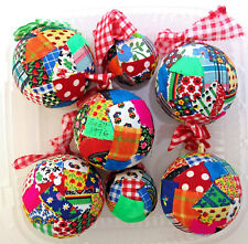 """set of 7 Christmas ornaments hand made quilted ball ornaments (5) 3"""" & (2) 2"""""""