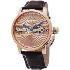Stuhrling доплеровская мужская коричневая телячья кожа, корпус из нержавеющей стали часы 729.04