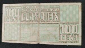 100 CENT VG FINE GERMAN CONCENTRATION CAMP NOTE- WESTERBORK/NETHERLANDS 1944