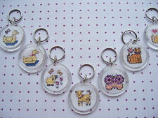 Cross Stitched Key Rings, Bag Charms