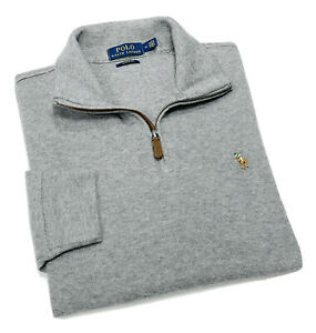 Polo Ralph Lauren Men's Quarter Zip Cotton Sweater In Grey RRP£120
