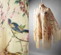 Japanese Asian Floral Bird Print Vintage Style 20s Kimono 137 mv Jacket 1X 2X 3X
