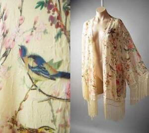 Japanese Asian Floral Bird Print Vintage Style 20s Kimono 137 mv Jacket 1X 2X 3X