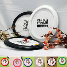 8 Inch Modern Round Photo Frame Wood Glass Picture Holder Home Room Office Decor
