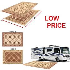 Outdoor Reversible Camping Patio Mat RV Picnic Rug Carpet Deck w/ Carrying Strap