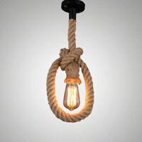 Vintage Industrial Pendant Lamp Edison Hemp Rope Ceiling Light Base Decor IHG96
