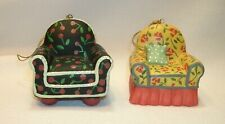 2 New 1997 Mary Engelbreit Ceramic Chair Ornaments Cherries Flowers