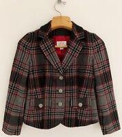 TALBOTS Women Wool Blend Jacket Blazer 2P Black Gray Red Plaid 3-Button Lined