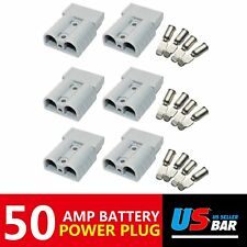6x 600V 50AMP Plug Jumper Booster Cables Battery Charger Secure Quick Connect