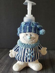 Vintage Resin Winter Snowman Pump Soap Dispenser White & Blue