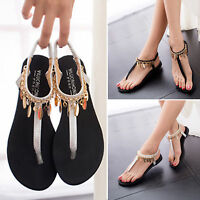 WOMEN BEACH THONG SANDALS LADIES BEACH FLIP FLOP T-Strap ANKLE STRAP FLAT SHOES