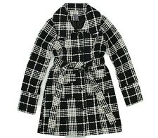 Poetry Womens Black White Tweed Belted Trench Coat Lined Jacket Size Small