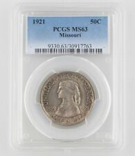 1921 50¢ Missouri Silver Commemorative Graded by PCGS as MS-63! Low Mintage!